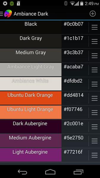Как найти код каждой цветовой палитры на Android