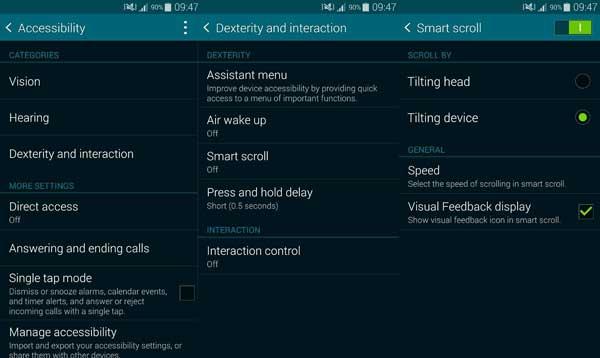 Как включить быстрый взгляд и умную прокрутку на Samsung Galaxy S5