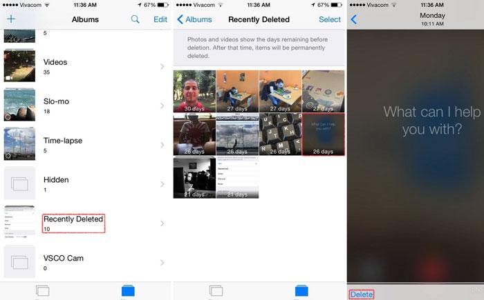 Как полностью удалить фотографии, недавно удаленные iOS 8