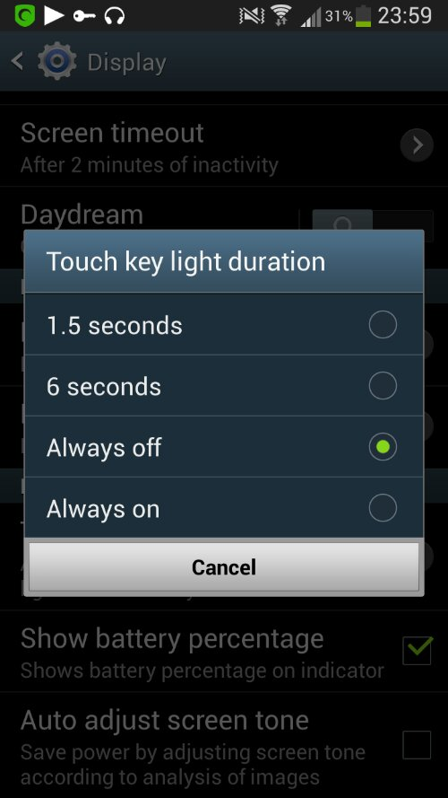 Как отключить подсветку емкостных клавиш на Samsung Galaxy S4